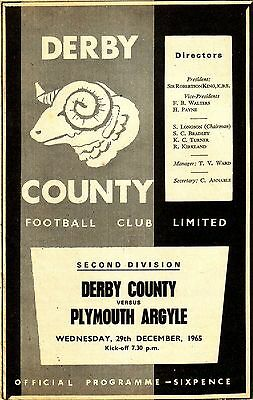 DERBY v PLYMOUTH 1965/66 DIVISION 2