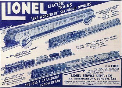 Post Card Of A Vintage Model Train Advertisement Lionel Electric Trains