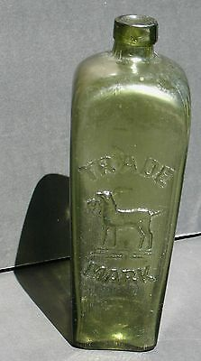 Vintage J.j.w. Peters Gin Bottle Dog Embossed Late 1800's Early 1900's Green