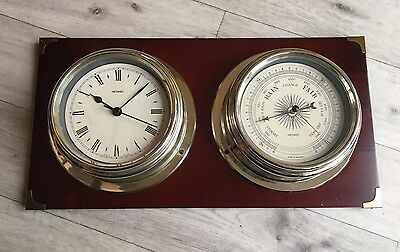 Nautical ships style, Barometer And Clock Combined mounted on wood