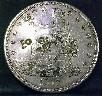 1877-S Trade Dollar With Cool Chop Marks -Id# Pp782