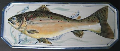 "Highland Stoneware Scotland Hand Painted Fish Plaque Serving Tray 16.75"" X 6.75"""
