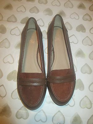 Ladies Brand New Faux Leather/suede Brown Tan Loafers Smart Shoes 6 Uk