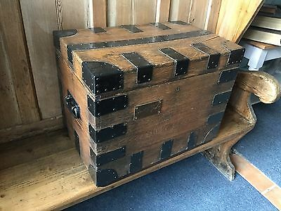Gorgeous Mid 19th C Army and Navy Oak Iron Bound Silver Chest SHIPPING AVAILABLE