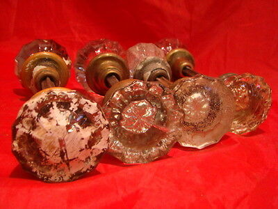 Lot Of 4 Sets (8 Knobs) Glass Crystal Antique Art Deco Door Knobs A