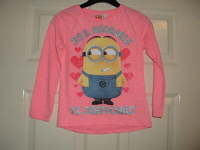 Girls Lovely Long Sleeve Pink Despicable Me Minion Motif Top Age 5-6 Years Bnwt