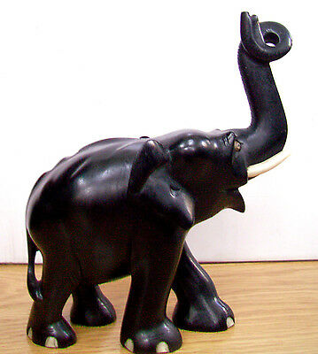 Antique Ebony Hand Carved Wooden Elephant-Trunk Up