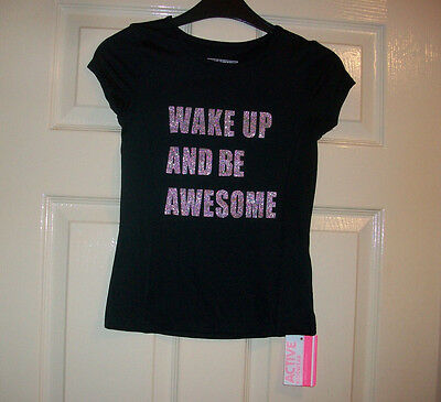 Girls Lovely Black Wake Up And Be Awesome Motif T-Shirt Top Age 12-13 Years Bnwt