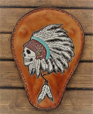 1 of 1  Handcrafted custom Indian solo seat Eddie Brat Leather