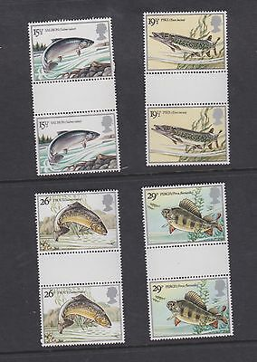 Stamps GB 1980 gutter pairs Fish