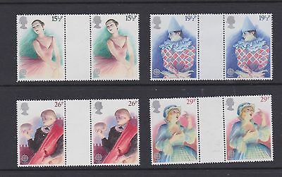 Stamps GB 1982 gutter pairs Theatre