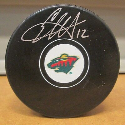 Eric Staal Autographed Minnesota Wild Logo Puck Signed Hockey Auto