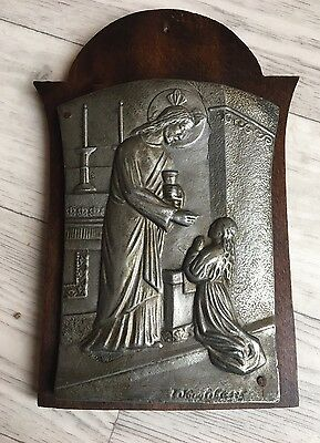 Signed vintage religious Christian wall plaque