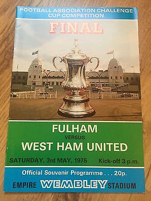 1975 FA Cup Final Programme Fulham v West Ham United  Excellent Condition