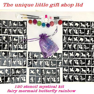 Unicorn Mermaid Fairy GLITTER TATTOO KIT 120 OR REFILL ITEMS