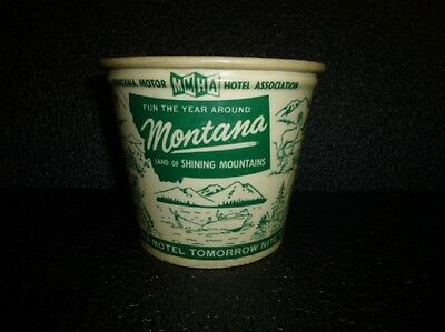 Vintage MMHA Montana Motor Hotel Association Motel Ice Bucket Advertising Sign