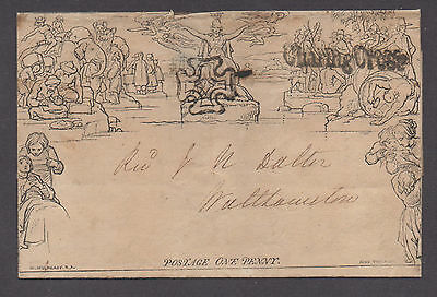 **Great Britian, 1840 Mulready 1d Black Maltese Cross H/S 11/12 Letter Sheet