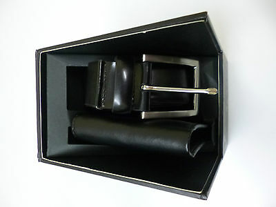 Mens Leather Coated Black Belt and Wallet Gift Set