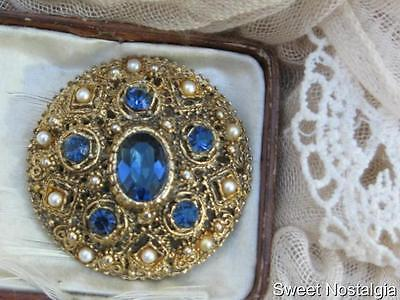 Beautiful Vintage 60/70's Faux Pearl And Sapphire Blue Glass Diamante Brooch