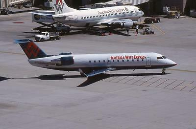 Original 35mm Aircraft Slide America West Canadair CRJ-200LR N7264V PHX 4/99