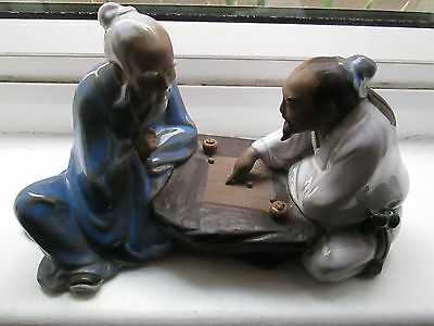 A Lovely Chinese Mud Figure 2 Men Playing Game,lovely Condition See Scan