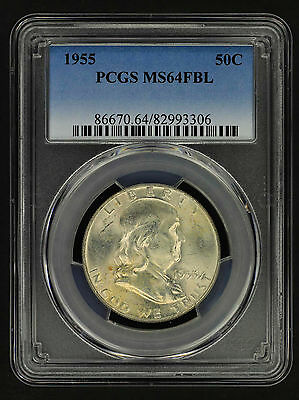1955 Uncirculated Franklin Silver Half Dollar PCGS MS-64FBL -155902