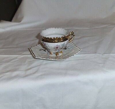 Old Four-Legged Cup and Saucer (small) well-over 50 years old
