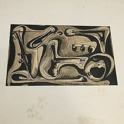 Orig Leo Amino Ink Drawing Signed #32 1949 Mid Century Mod Eames Abstract Art