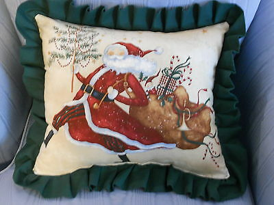 Country Cottage Christmas Holiday Jolly Ole' St Nick Whimsy Decorative Pillow
