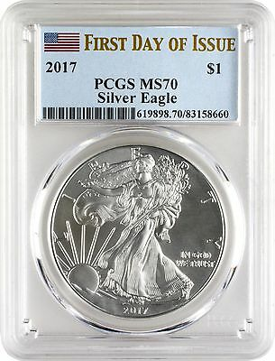 2017 $1 American Silver Eagle PCGS MS70 First Day of Issue