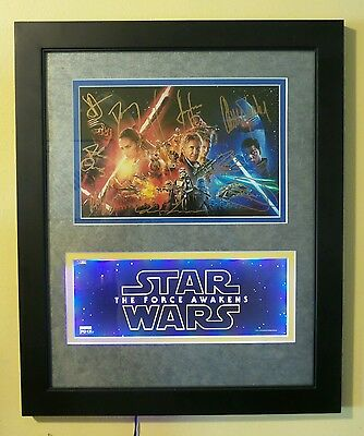 Cast Signed 10 HARRISON FORD CARRIE FISHER STAR WARS Photo AUTOGRAPH COA framed