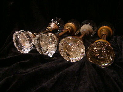 LOT OF 4 SETS (8 KNOBS) GLASS CRYSTAL ANTIQUE ART DECO DOOR KNOBS b