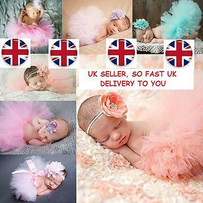 Newborn Baby Girl Headband+Mesh Tutu Skirt Costume Photo Photography Prop Outfit