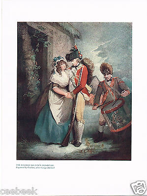 The Billited Soldier's Departure Antique Military Picture Print