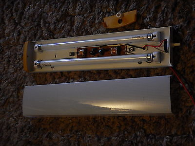 12v dual tube florescent light fixture with switch