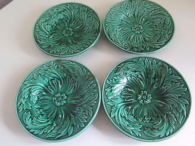 Rare Set Of 4 19Th Century Green Moulded Wedgwood Majolica Childs Plates. C1880