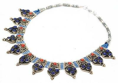 Stunning Silver Plated Tibetan Lapis Coral Handmade Nepalese Necklace