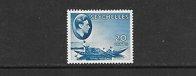 SEYCHELLES. 1938-1949.  20c BLUE HINGED MINT. PLEASE SEE 2ND SCAN FOR BACK.