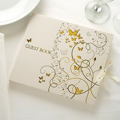 GOLD BUTTERFLY Ivory WEDDING Anniversary Party GUEST BOOK
