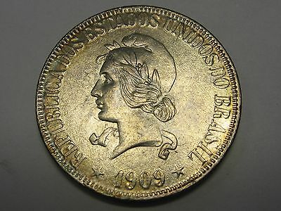 Beautiful 1909 Brazil Uncirculated Silver 1000 Reis .2894 ASW Sweet Coin    s28