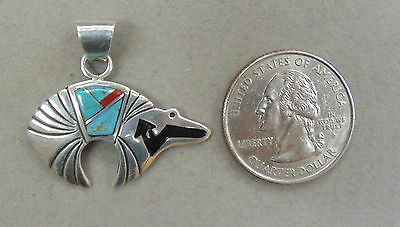 Southwest Inspired Heartline Bear Turquoise Coral .925 Sterling Silver Pendant