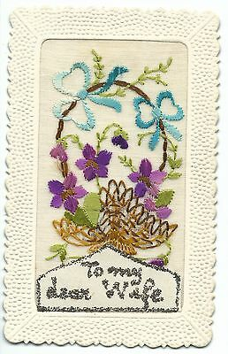 WW2 Silk Embroidered PC, To My Dear Wife, Basket of Purple Flowers