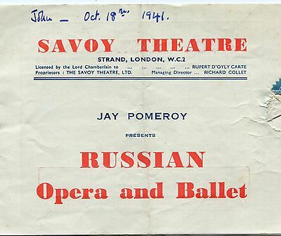 Savoy Theatre Russian Opera and Ballet 1941Vintage Programme