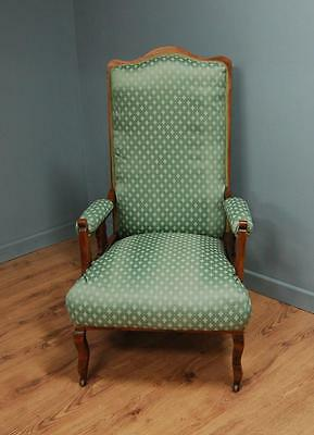 Re-upholstered Victorian High Backed Library Chair on Casters - Antique?