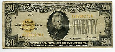 $20 Dollar Gold Certificate 1928 VF Yellow Seal Small Size Note Very Fine AA0326