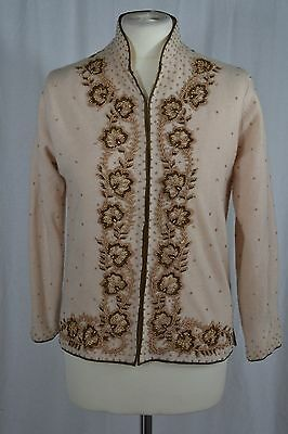 VINTAGE 1960s ivory wool floral beaded cardigan Nehru collar size 10