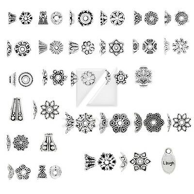 31 Style 50-500pcs Lots Tibetan Silver Metal End Beads Caps Jewelry Finding