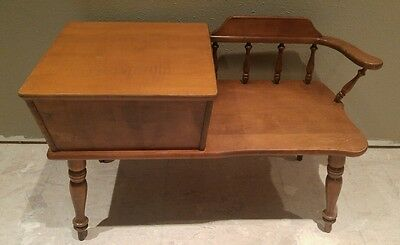vintage. Operator wood telephone phone gossip table bench decor