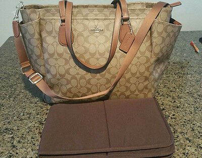 NWT Authentic COACH Signature Diaper Tote Baby Bag in Tan F35414 $495