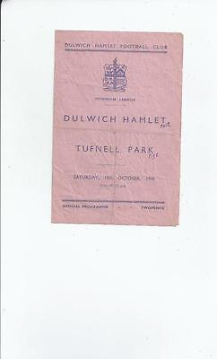 Dulwich Hamlet v Tufnell Park Football Programme 1946/47  Oct 19th